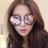 墨鏡女潮眼鏡2018新款圓形彩色太陽鏡女圓臉韓國復古眼鏡【快速出貨限時八折】