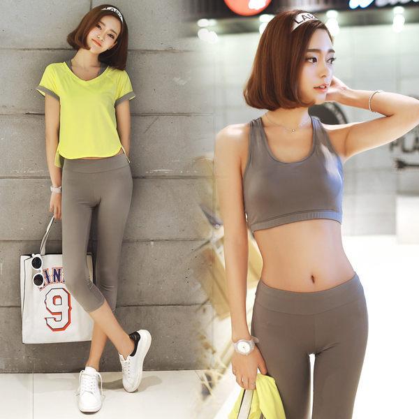 韓國春夏新款瑜伽服套裝三件套女短袖背心休閒運動跑步健身喻咖服   -cmx0023