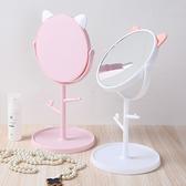 貓咪梳妝鏡補妝鏡DIY 組裝飾品收納盒儲物盒桌台鏡雙面旋轉化妝鏡◄ 家 ►【Z042 】