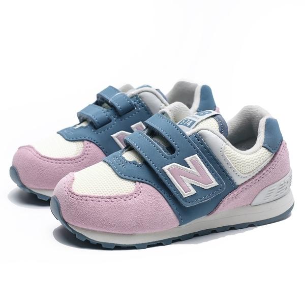 NEW BALANCE 574 白網 粉紫 丈藍麂皮 魔鬼氈 休閒鞋 小童 (布魯克林) IV574JHG