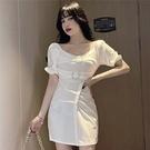 裙子洋裝95098#實拍修身顯瘦一字領泡泡袖連衣裙大u領港風短袖小黑裙GB507.胖胖唯依