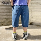 小象漢姆童裝男童牛仔中褲兒童夏天短褲洋氣五分褲中大童2021新款 一米陽光