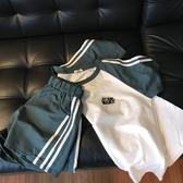 超火cec套裝女夏網紅港風ins潮短袖短褲學生寬鬆運動休閒兩件套 滿天星