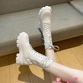 馬丁靴 加絨馬丁靴女英倫風新款系帶中筒時尚個性中跟機車靴子網紅女短靴 小天使