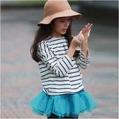 長袖上衣 條紋 鐵塔 落肩上衣 T恤 圓領T 女童 女寶 簡約 Augelute 50774