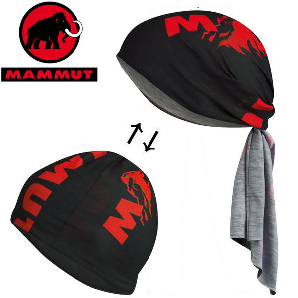 Mammut長毛象 1090-04590-0121黑/紅 透氣排汗頭巾/Zermatt Headband/排汗快乾/彈性領巾/圍巾