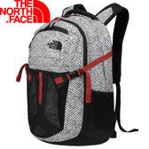 【The North Face 31L 15吋電腦背包 黑橢圓印花/紅】 NF00CLG4/電腦背包/後背包/電腦包/通勤包★滿額送
