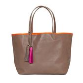【LILI RADU】德國新銳時尚設計品牌 手工流蘇雙色時尚小牛皮肩揹包 購物包 (可可褐)