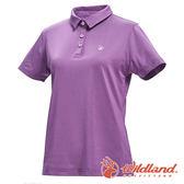 【wildland 荒野】女 彈性POLO吸排抗UV條紋衣『淺紫』0A71659 T恤 POLO衫 上衣 女版 短袖 排汗