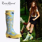 米蘭 好雨時節女式高筒雨鞋時尚印花雨靴春夏繁花橡膠歐美風高筒雨靴女