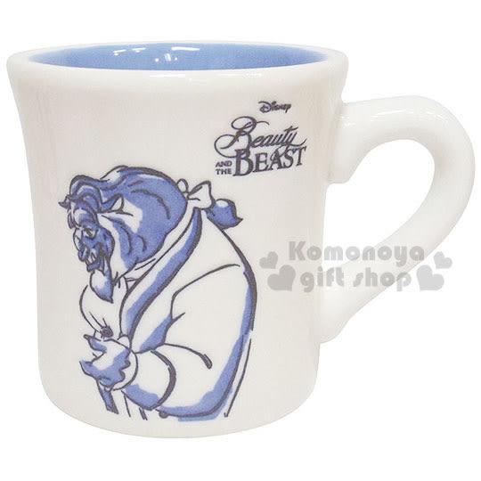 〔小禮堂〕迪士尼 美女與野獸 陶瓷馬克杯《白.野獸.300ml》 4942423-24087