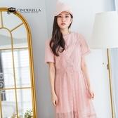 正韓 素色棉T+蕾絲洋裝套組/二色 CSET180908