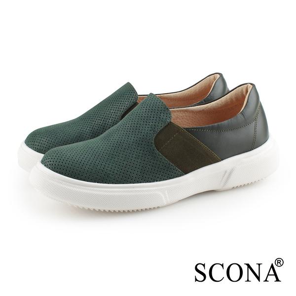 SCONA 蘇格南 全真皮 輕量舒適厚底樂福鞋 綠色 7341-3