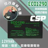 ECO1290 (12V9Ah)自行更換電霸電池 MP309 MP525 MP109【客製化螺絲接頭】