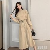 襯衫洋裝 韓版2020春冬新款氣質中長款過膝女裝風衣長袖連身裙子 yu10550【艾菲爾女王】