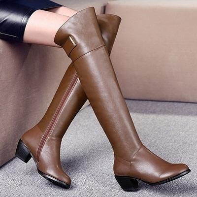 長靴-純色百搭英倫時尚真皮帥氣女過膝靴2色71ab30【巴黎精品】