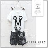 純棉 中大童 造型字母拼接橫條紋連身裙 洋裝 可愛 甜美 韓版 字母 棉質 女童