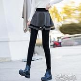 假兩件褲新款假兩件加絨加厚打底褲裙褲女踩腳連褲帶裙外穿小腳褲 快速出貨