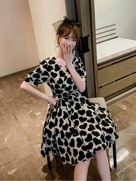 雪紡洋裝女夏裝2020年新款顯瘦收腰氣質黑色超仙森系中長款裙子 聖誕節全館免運