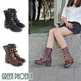 U28-26003 女款牛皮短筒靴  國際精品皮條鞋帶仿木質紋義大利蠟皮粗跟短筒靴【GREEN PHOENIX】
