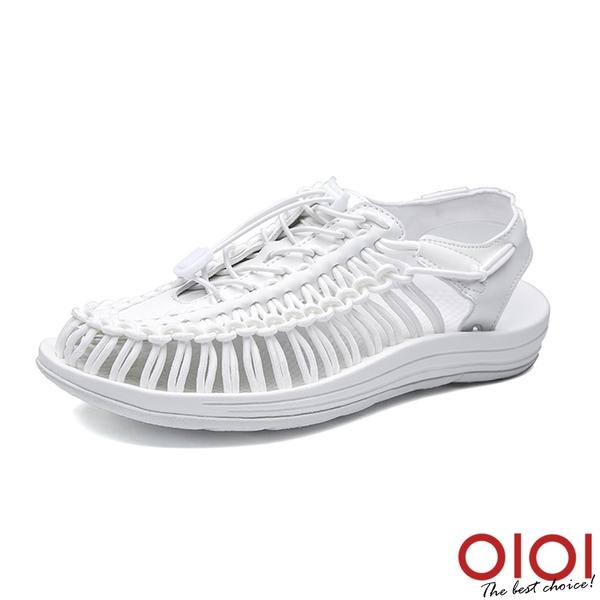 涼鞋 輕潮玩酷編織繩情侶鞋(男女款-白)*0101shoes【18-D888w】【現+預】