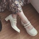 手工真皮女鞋34~39 2020新款時尚優雅小羅莉娃娃頭圓頭中跟樂福鞋鞋 ~2色