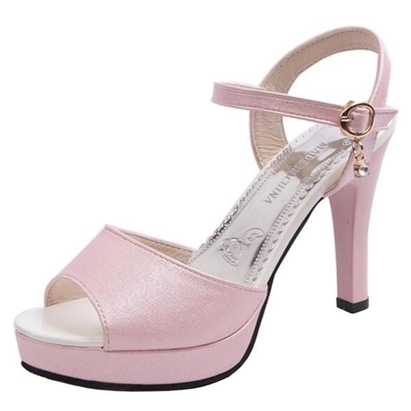 網紅女鞋子2019春季新款韓版百搭魚嘴涼鞋一字扣細跟防水台高跟鞋