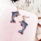 藍色海豚耳環氣質女耳墜時尚韓國項鍊個性可...