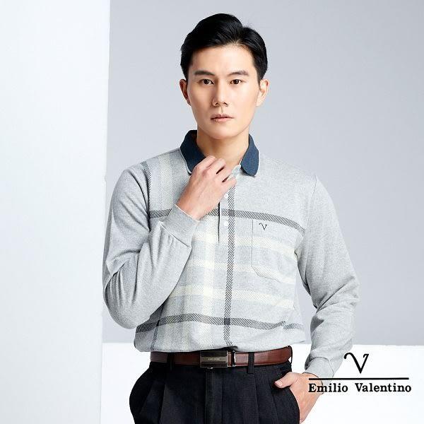 【Emilio Valentino】優雅紳士厚棉保暖POLO衫 - 灰/黃