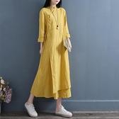 中国风盘扣改良棉麻连衣裙2021春季双层中式禅意茶服文艺复古女装 茱莉亞