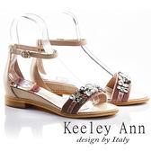 ★2018春夏★Keeley Ann高雅出眾~亮澤水鑽腳踝釦帶真皮平底涼鞋(粉紅色) -Ann系列