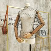 百搭洋氣小衫內搭透明鏤空網紗上衣性感高領蕾絲打底衫女長袖 伊衫風尚