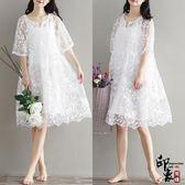 女文藝寬鬆白色鏤空蕾絲鉤花波浪邊中長款連身裙潮 快速出貨