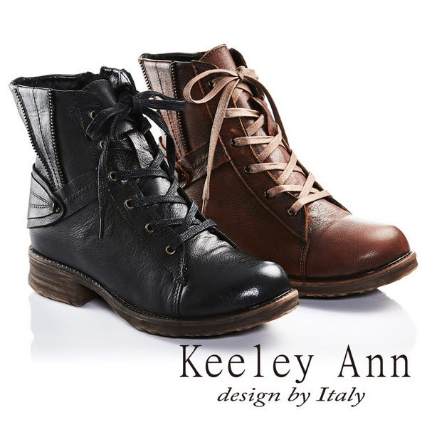 ★2016秋冬★Keeley Ann率性不羈簡約素面質感牛皮綁帶靴(棕) -Ann系列