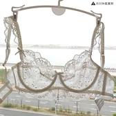 蕾絲文胸女性感內衣套裝超薄款無海綿透明胸罩大胸顯小薄款【毒家貨源】
