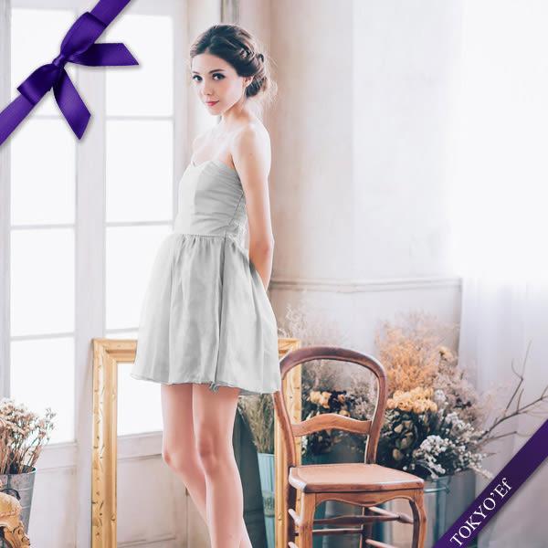 東京衣服 俏麗娃娃 心型領 珠光網紗裙襬洋裝小禮服 銀
