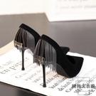 法式少女黑色高跟鞋女細跟性感尖頭單鞋【時...