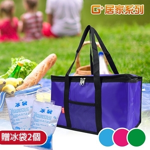 G+居家 環保購物防潑水保溫袋-加大款(贈冰袋1000mlx2)紫色
