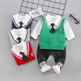 童裝兒童男寶寶春裝套裝男童三件套兒童衣服小童0-1-3周4歲韓版【萬聖夜來臨】