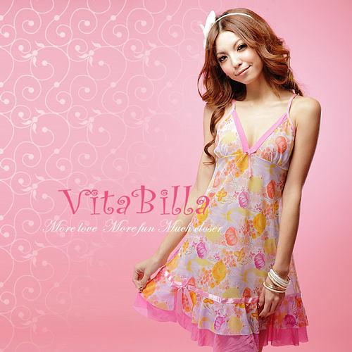 【伊莉婷】VitaBilla 粉色新娘 睡裙+小褲 二件組