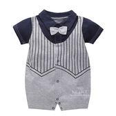 藏青紳士領結短袖包屁衣 連身裝 寶寶衣服 短袖上衣 哈衣 兔裝