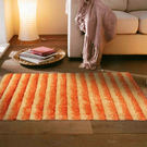 范登伯格 彩之舞 漸層條紋厚蓬地毯-橘30-50x80cm
