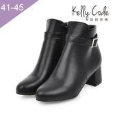 大尺碼女鞋-凱莉密碼-簡約百搭款時尚皮帶扣飾中跟短靴踝靴5.5cm(41-45)【HL4-9】黑色
