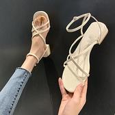 涼鞋女2021新款夏季學生百搭綁帶低跟粗跟平底鞋子女一字帶羅馬鞋 【端午節特惠】