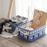 【BlueCat】棉麻和風藍色系桌面手提收納盒