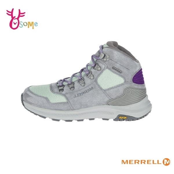 MERRELL登山鞋 女鞋 高筒復古登山鞋 避震黃金大底 防水透氣 戶外鞋 越野 耐磨 麂皮 ML500132 I8303#灰綠