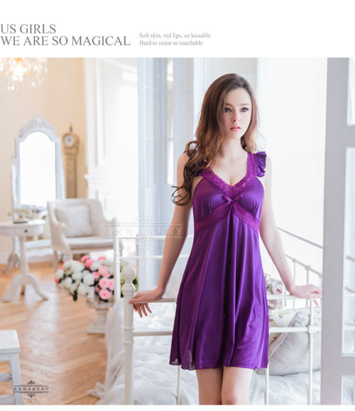 睡衣 性感睡衣【中大尺碼睡衣】典雅深紫小蓋袖柔緞情趣性感睡衣 星光密碼V025
