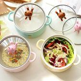 日式卡通大號泡面碗帶蓋雙耳陶瓷碗學生可愛飯碗家用湯碗聖誕節85折