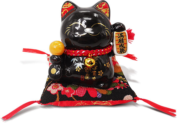 【金石工坊】滿願成就轉運貓(高9CM)黑色招財貓 陶瓷開運桌上擺飾 撲滿存錢筒