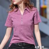 夏季新款韓版翻領寬松短袖t恤女裝竹節棉POLO領紫色體桖上衣 極簡雜貨